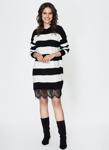 Loves You Eteği Tül Garnili Çizgili Tunik Elbise Siyah